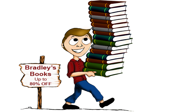Cartoon man holding stack of books