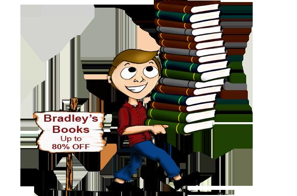 Cartoon man holding stack of books